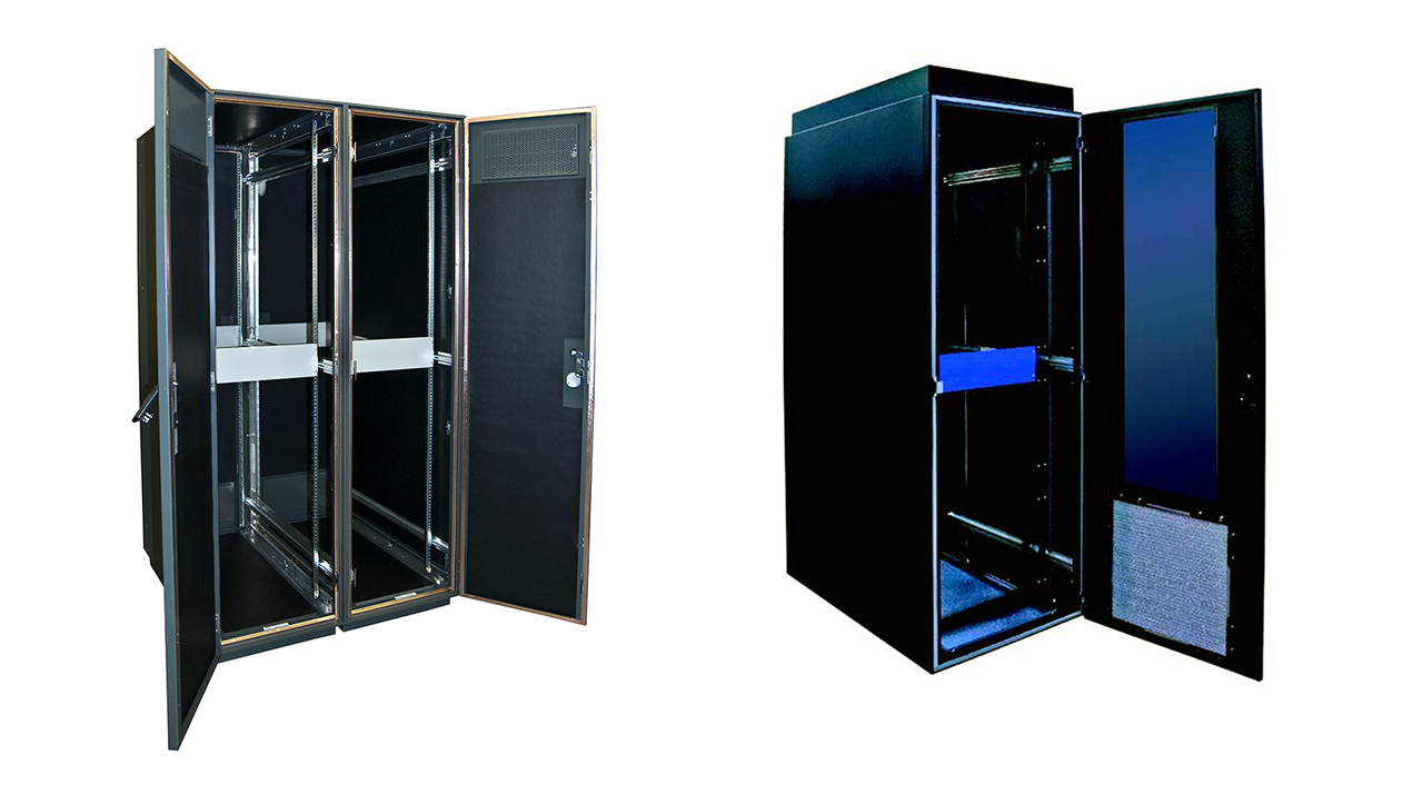 EMC Shielded 2-bay cabinet on left and Acoustic rack on right