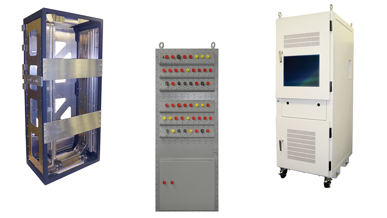 Examples of three different custom rugged cabinets